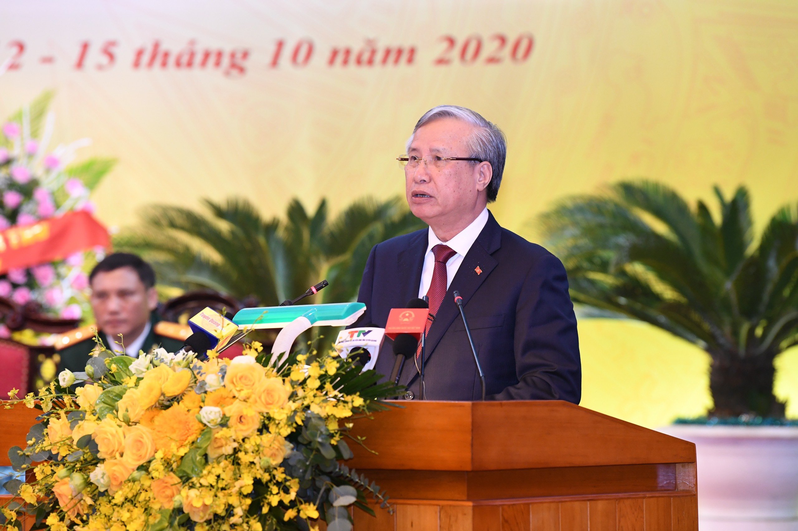 Đồng chí Trần Quốc Vượng, Ủy viên Bộ Chính trị, Thường trực Ban Bí thư phát biểu tại Đại hội