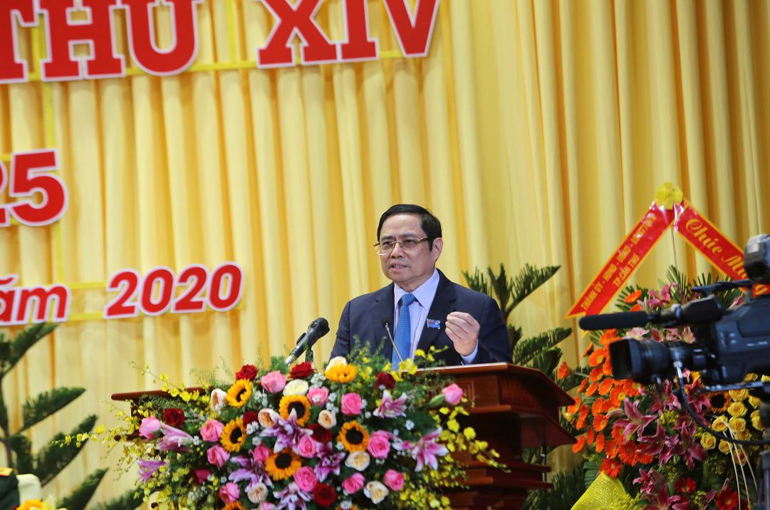 Ủy viên Bộ Chính trị, Trưởng ban Tổ chức Trung ương Phạm Minh Chính phát biểu tại Đại hội