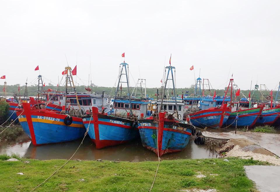 Tàu thuyền và bà mảng của ngư dân Diễn Châu đã về bờ tránh trú an toàn