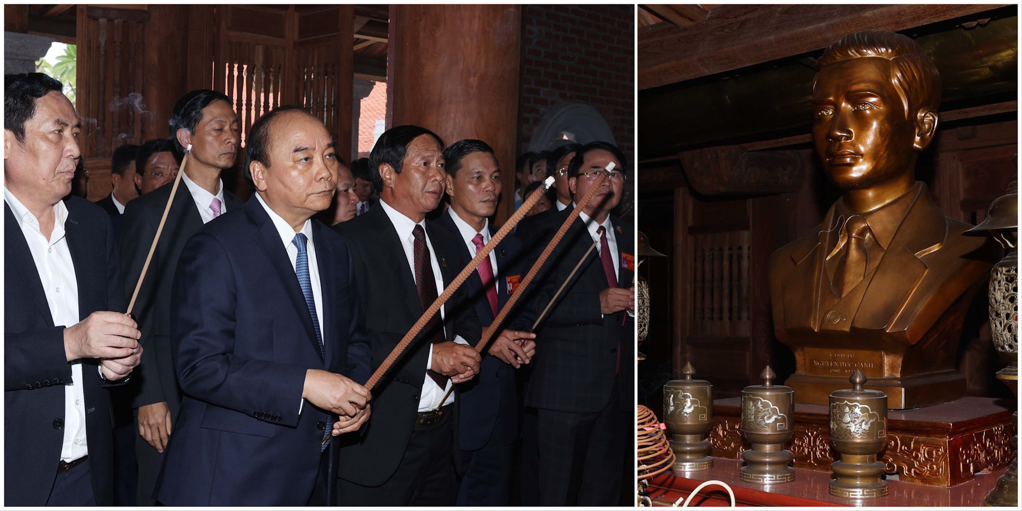 Thủ tướng Nguyễn Xuân Phúc dâng hương tưởng niệm đồng chí Nguyễn Đức Cảnh. Ảnh: VGP/Quang Hiếu