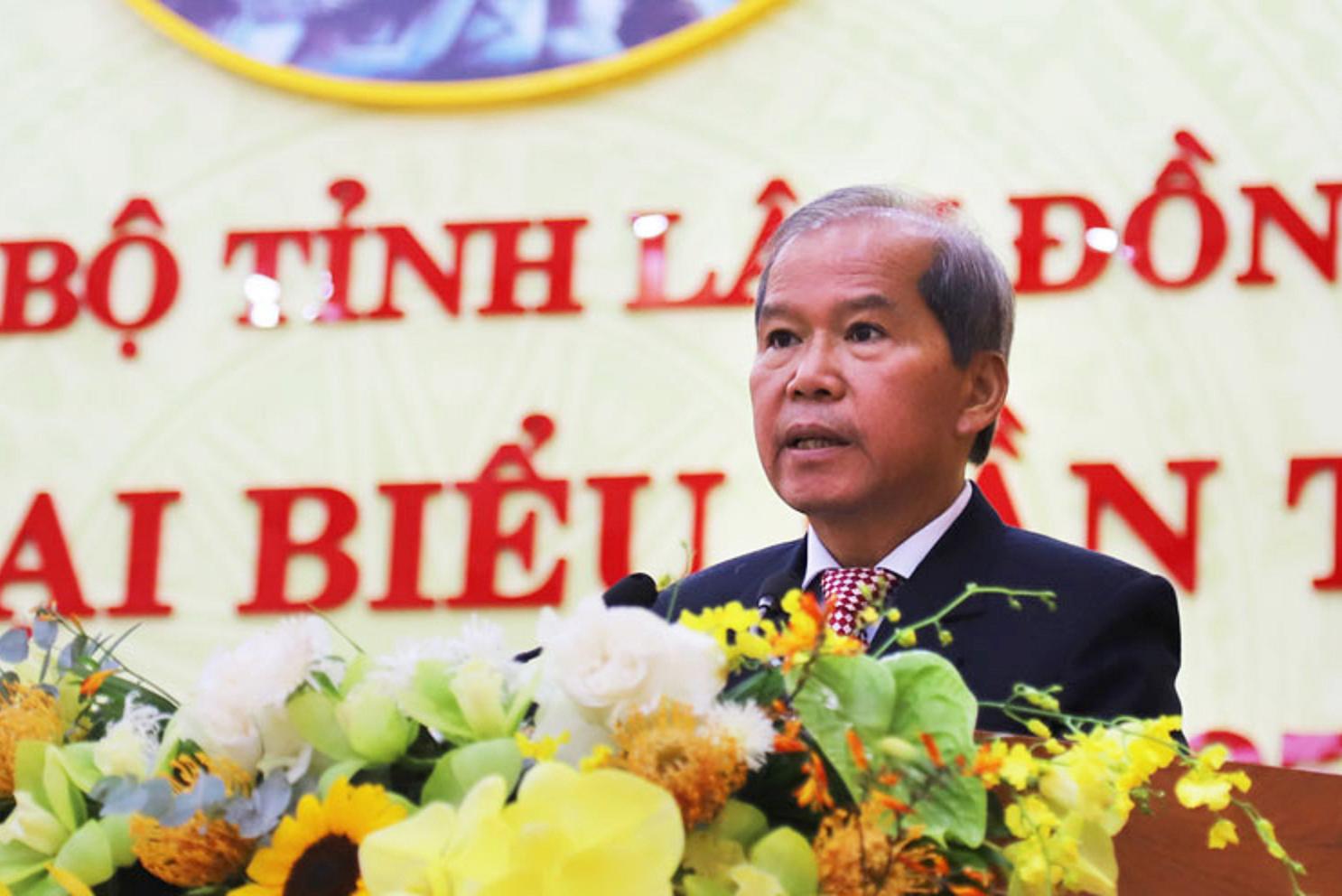Đồng chí Nguyễn Xuân Tiến - Ủy viên Trung ương Đảng, Bí thư Tỉnh ủy Lâm Đồng phát biểu khai mạc Đại hội