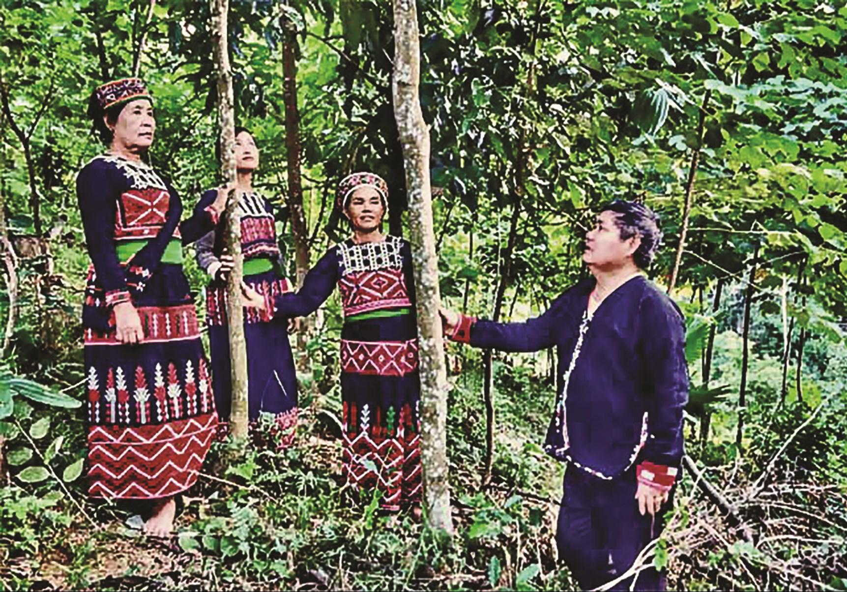 Bí thư Đặng Văn Lả hướng dẫn người dân trồng cây quế.