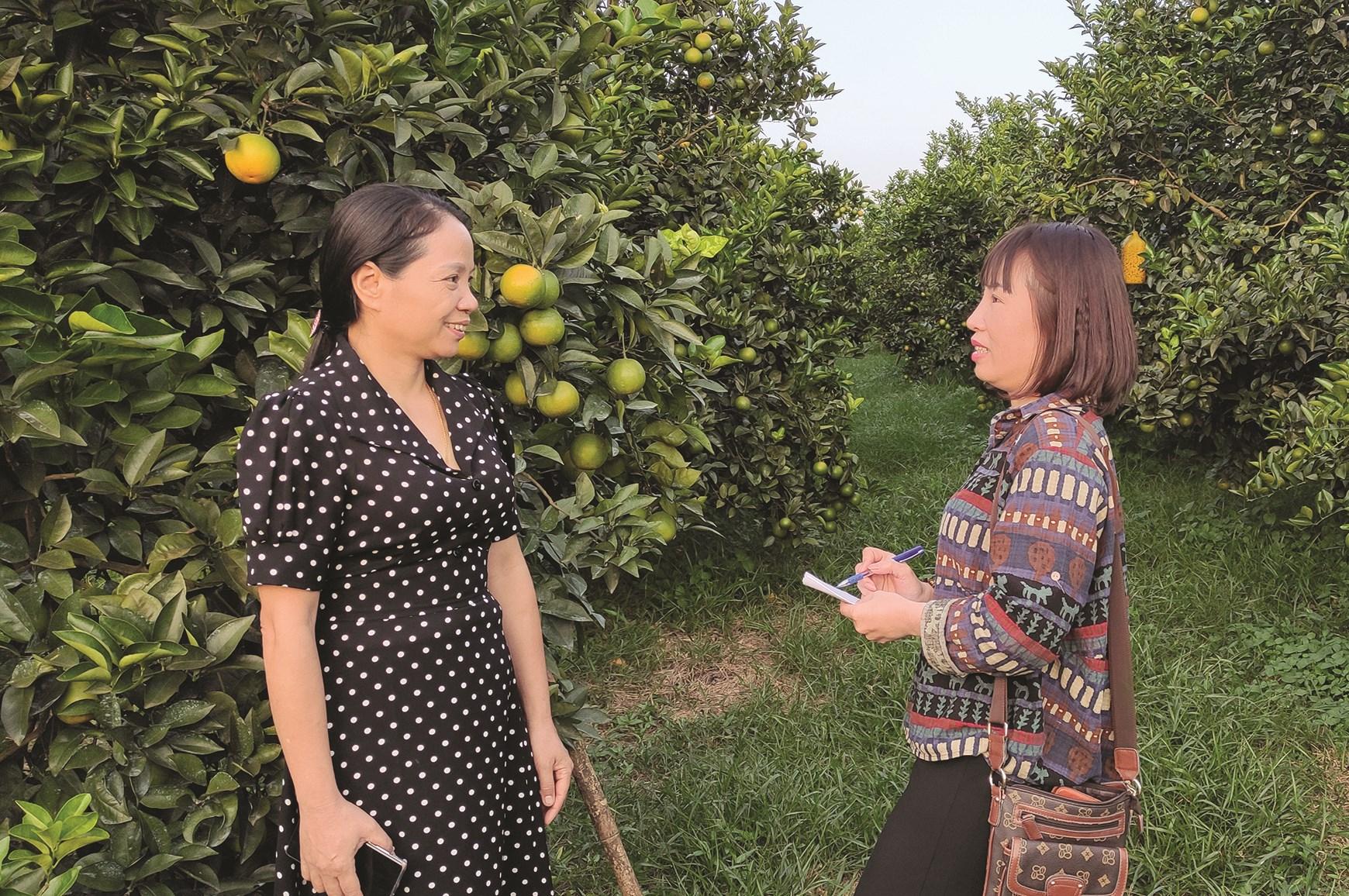 Bà Bùi Thị Mười chia sẻ với phóng viên Báo Dân tộc và Phát triển về công tác giảm nghèo ở địa phương.