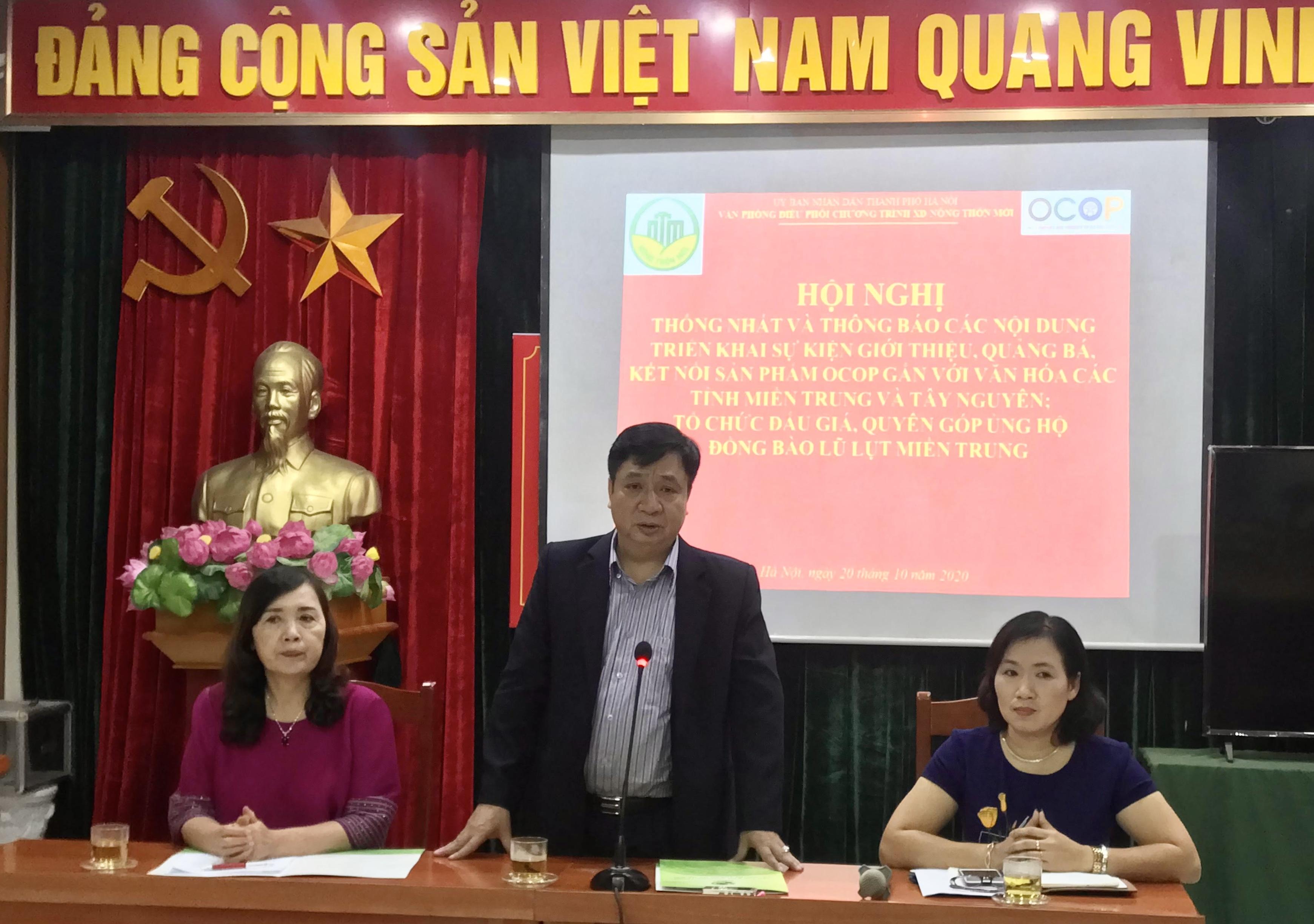 Ông Nguyễn Văn Chí, Phó Chánh Văn phòng Thường trực Văn phòng Điều phối Chương trình NTM thành phố Hà Nội phát biểu tại Hội nghị