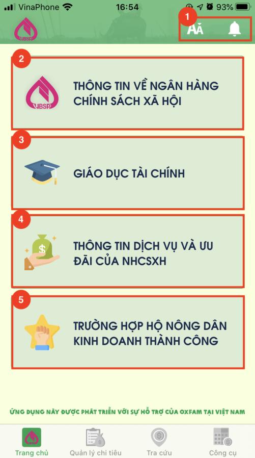 Một trong những giao diện của ứng dụng giáo dục tài chính