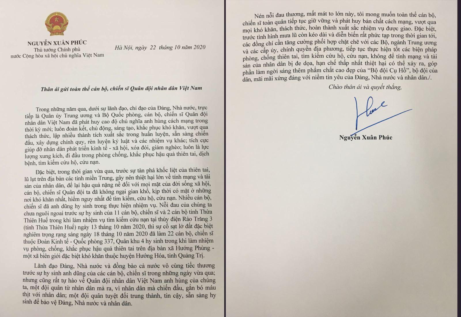 Thư của Thủ tướng gửi Quân đội nhân dân Việt Nam.
