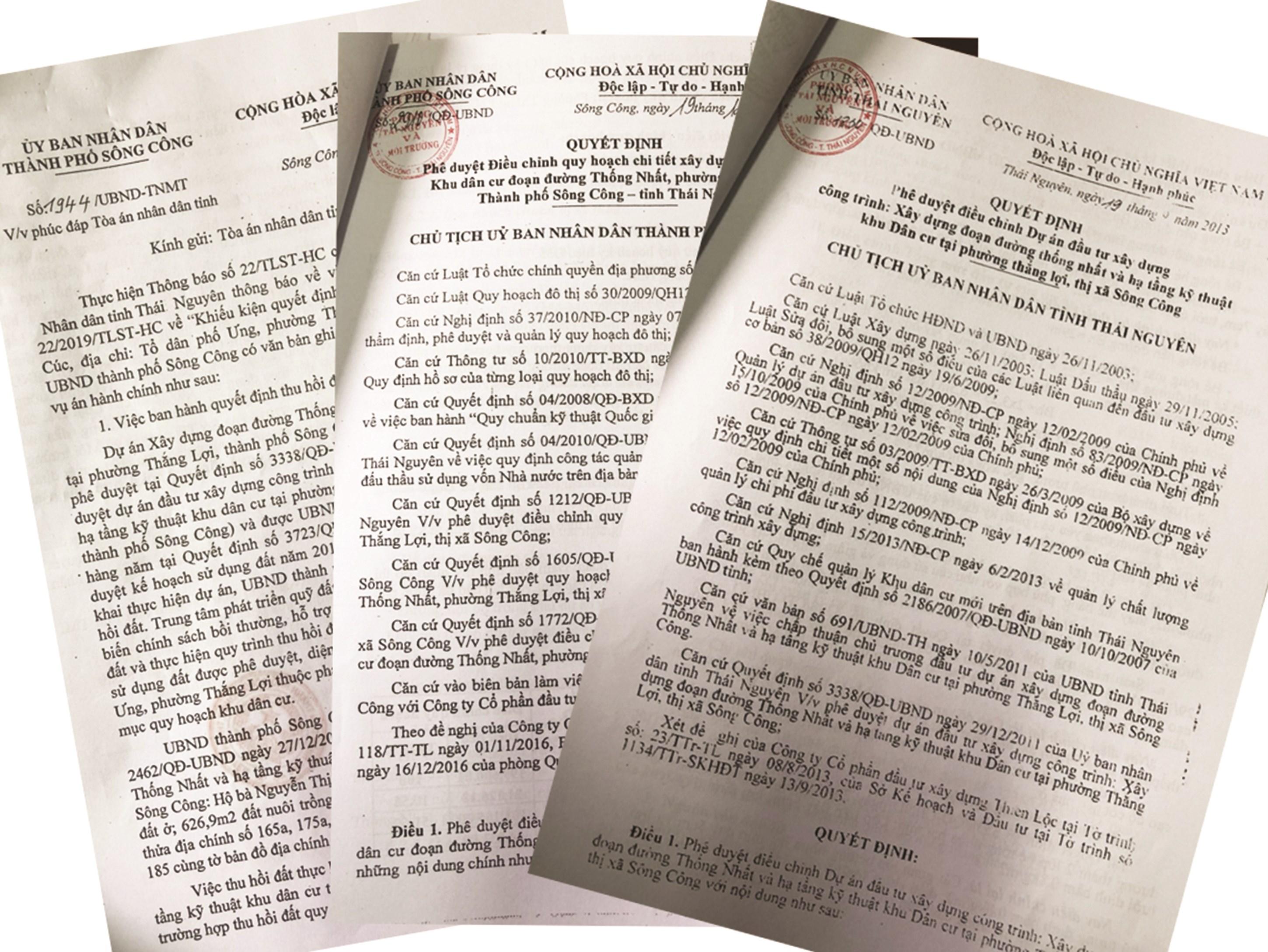 Một số văn bản liên quan của UBND TP. Sông Công và UBND tỉnh Thái Nguyên