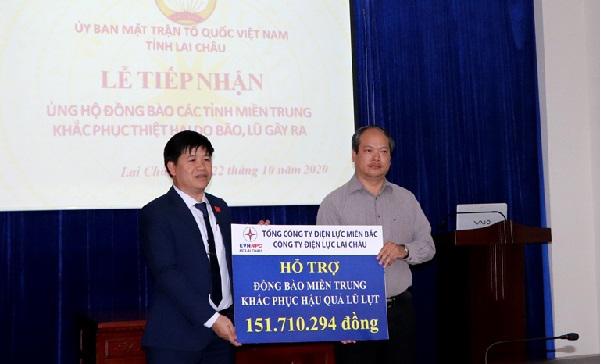 Điện lực Lai Châu quyên góp được hơn 150 triệu ủng hộ đồng bào miền Trung