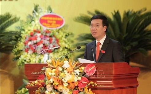 Đồng chí Võ Văn Thưởng, Ủy viên Bộ Chính trị, Bí thư Trung ương Đảng, Trưởng ban Tuyên giáo Trung ương phát biểu chỉ đạo Đại hội.