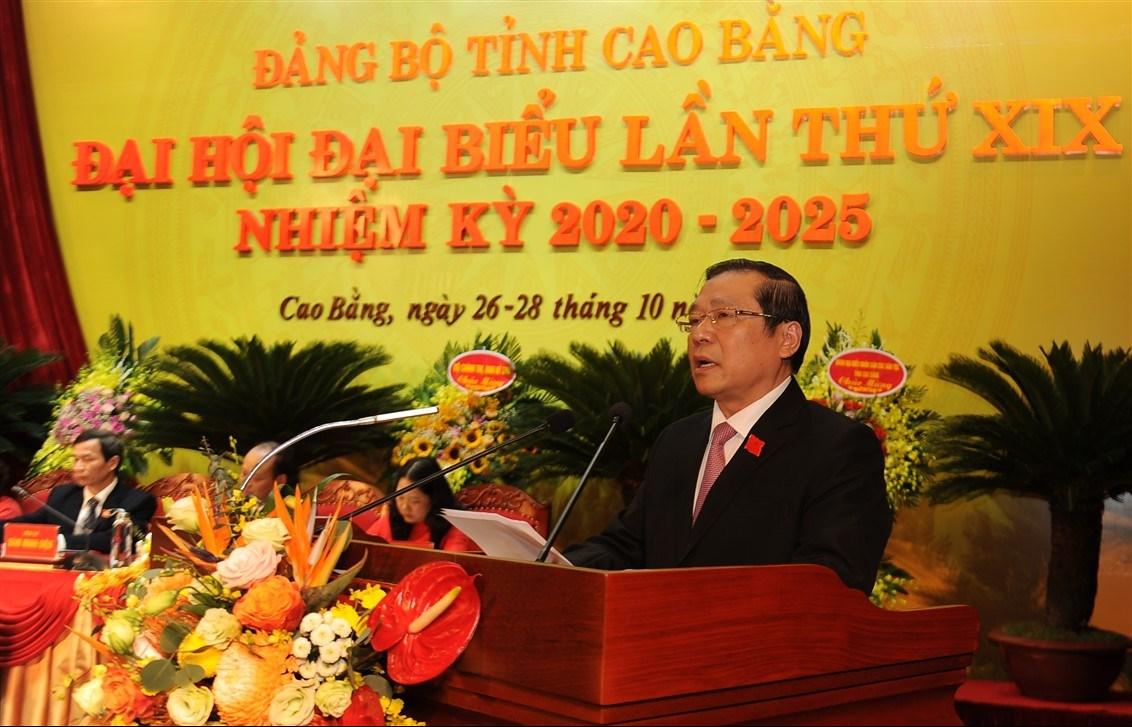 Bí thư Tỉnh ủy Cao Bằng Lại Xuân Môn phát biểu khai mạc Đại hội