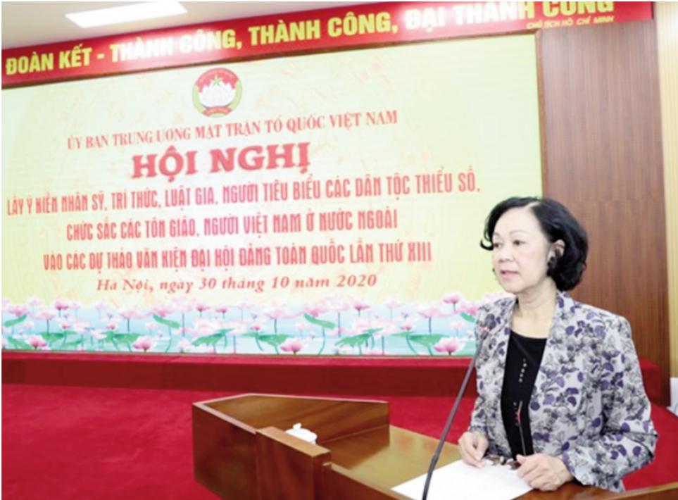Trưởng ban Dân vận Trung ương Trương Thị Mai phát biểu tại Hội nghị