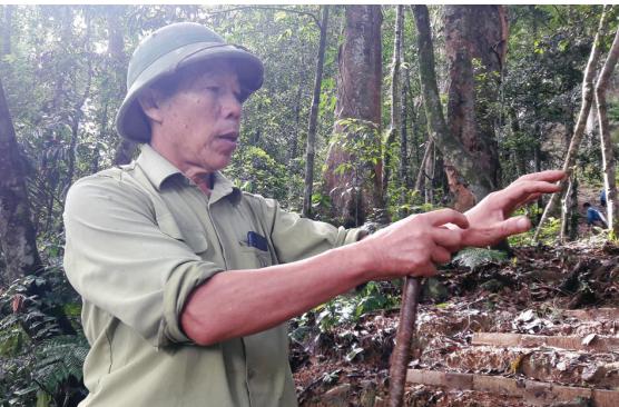 Trưởng bản Lang Hồng Tuyên trên đường đi tuần tra rừng ở bản Vịn