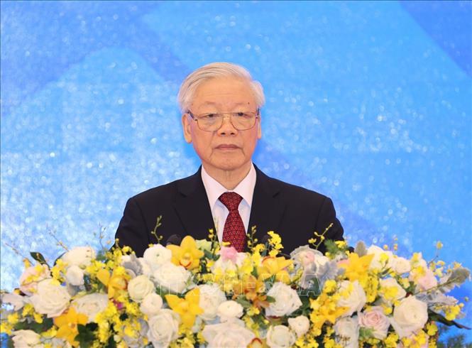 Tổng Bí thư, Chủ tịch nước Nguyễn Phú Trọng phát biểu chào mừng tại Lễ khai mạc. Ảnh: Trí Dũng/TTXVN