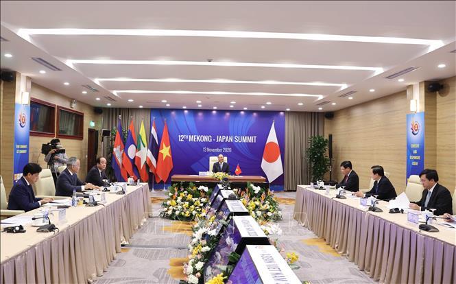 Hội nghị Cấp cao Mekong - Nhật Bản lần thứ 12 tại điểm cầu Hà Nội sáng 13 /11/2020. Ảnh: Thống Nhất/TTXVN