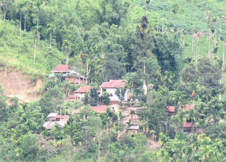 Nhà sàn của người dân vùng cao bên sườn núi