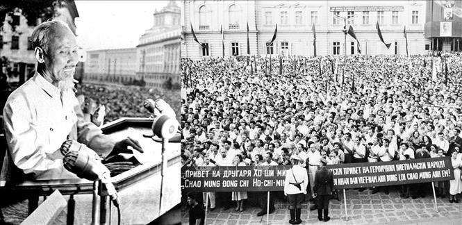 Chuyến thăm hữu nghị chính thức Bulgaria của Chủ tịch Hồ Chí Minh tháng 8/1957 đã đặt dấu mốc quan trọng trong lịch sử quan hệ hai nước. Trong ảnh: Chủ tịch Hồ Chí Minh phát biểu tại lễ mít tính chào mừng Người thăm hữu nghị Bulgaria (13/8/1957). Ảnh: TTXVN