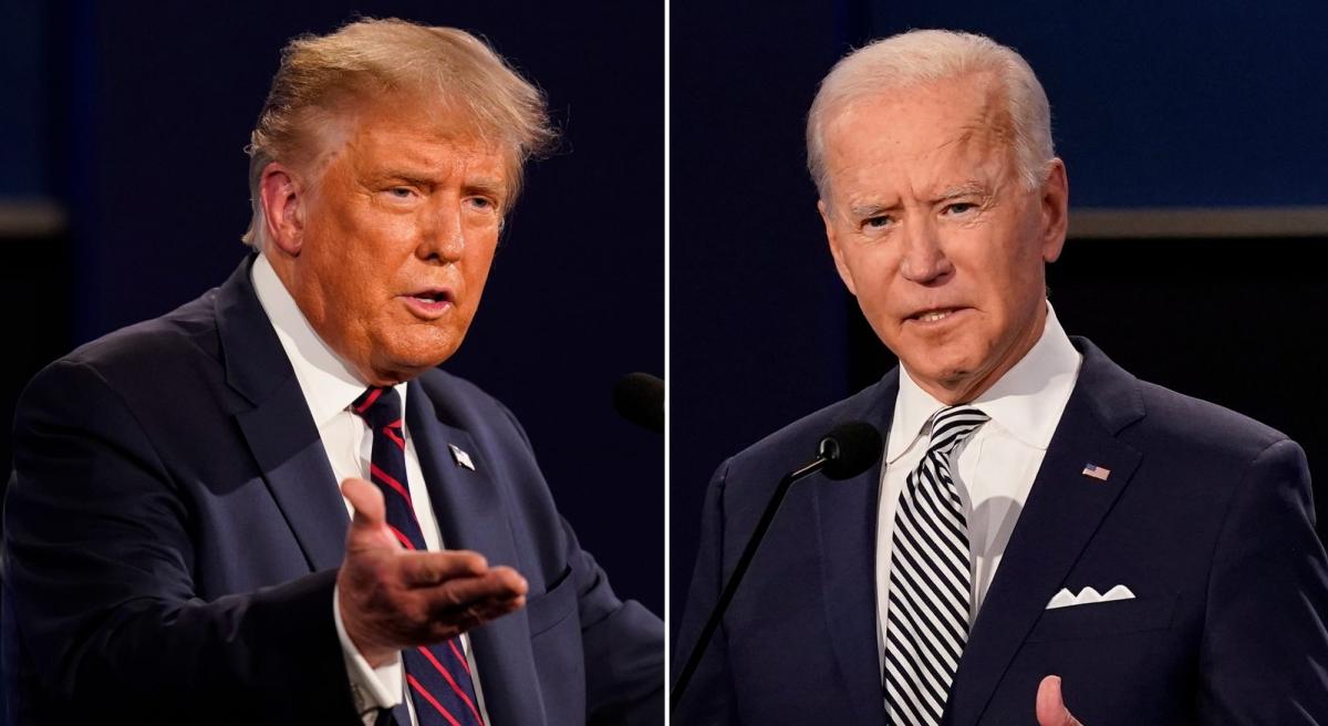 Tổng thống Mỹ Donald Trump (trái) và ông Joe Biden dù ai thắng cử vẫn phải duy trì những chính sách chung liên quan đến vấn đề Biển Đông. Ảnh: Reuters