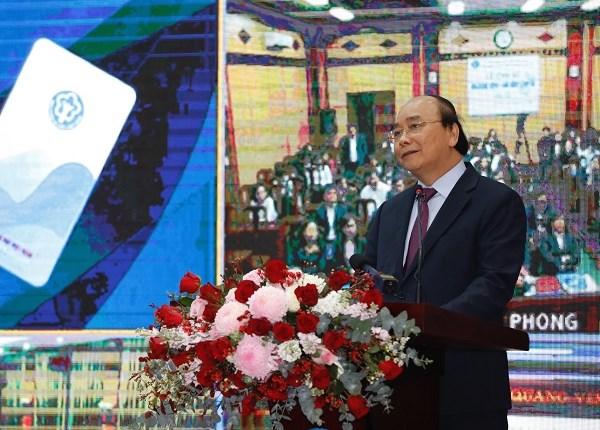 Thủ tướng Chính phủ Nguyễn Xuân Phúc phát biểu tại buổi Lễ công bố ứng dụng VssID - Bảo hiểm xã hội số