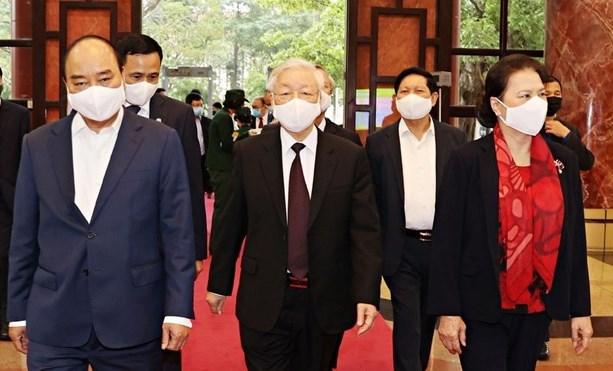 Tổng Bí thư, Chủ tịch nước Nguyễn Phú Trọng, Thủ tướng Nguyễn Xuân Phúc và Chủ tịch Quốc hội Nguyễn Thị Kim Ngân tới dự Hội nghị