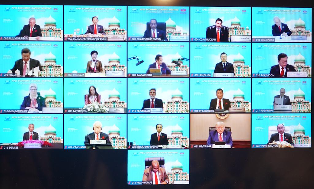 Lễ khai mạc Hội nghị Cấp cao APEC lần thứ 27 diễn ra theo hình thức trực tuyến. Ảnh: VGP/Quang Hiếu