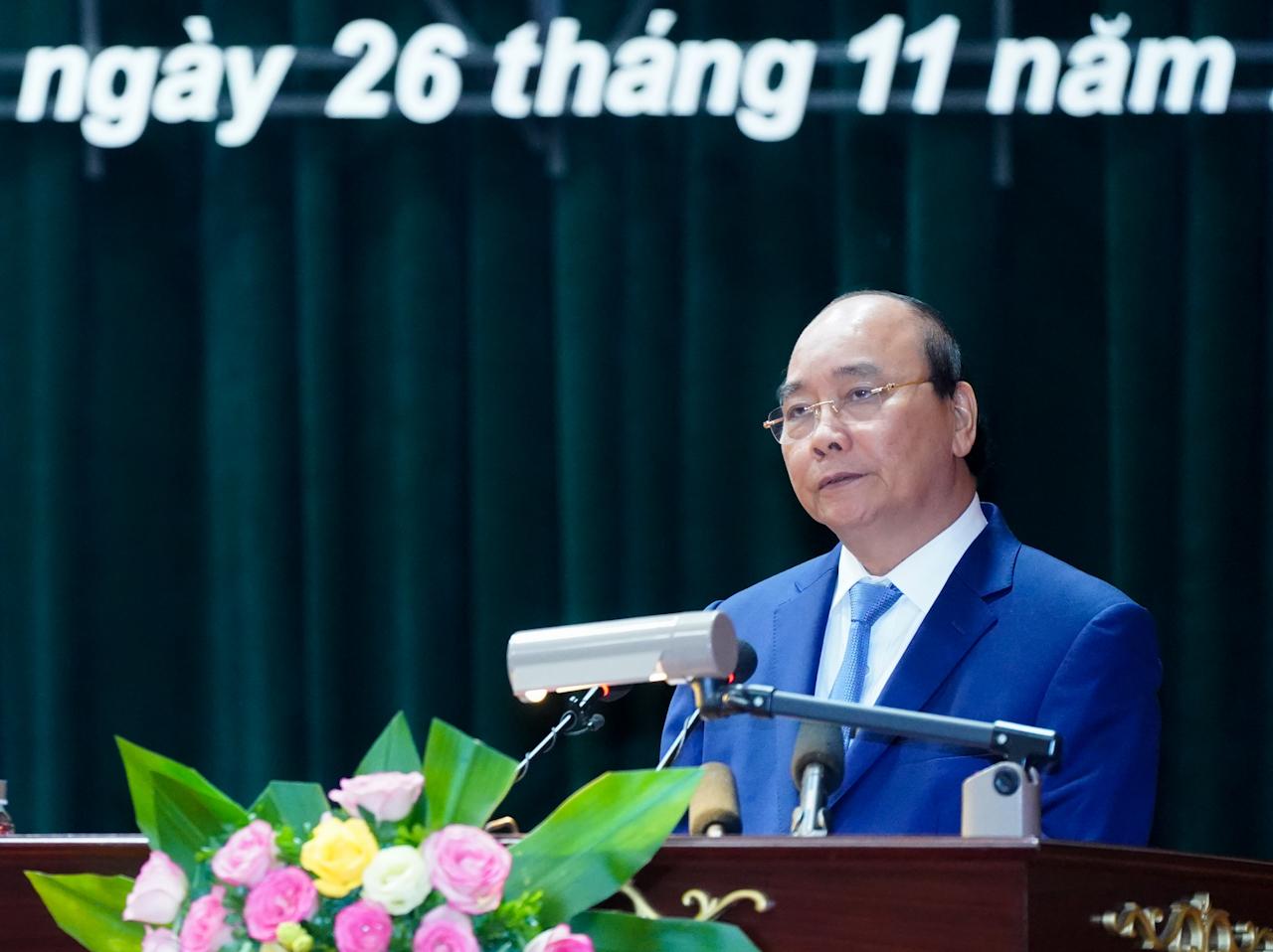 Thủ tướng Nguyễn Xuân Phúc đánh giá, thời gian qua, Học viện Quốc phòng đã hoàn thành xuất sắc nhiệm vụ được Quân ủy, Bộ Quốc phòng giao. Ảnh: VGP/Quang Hiếu