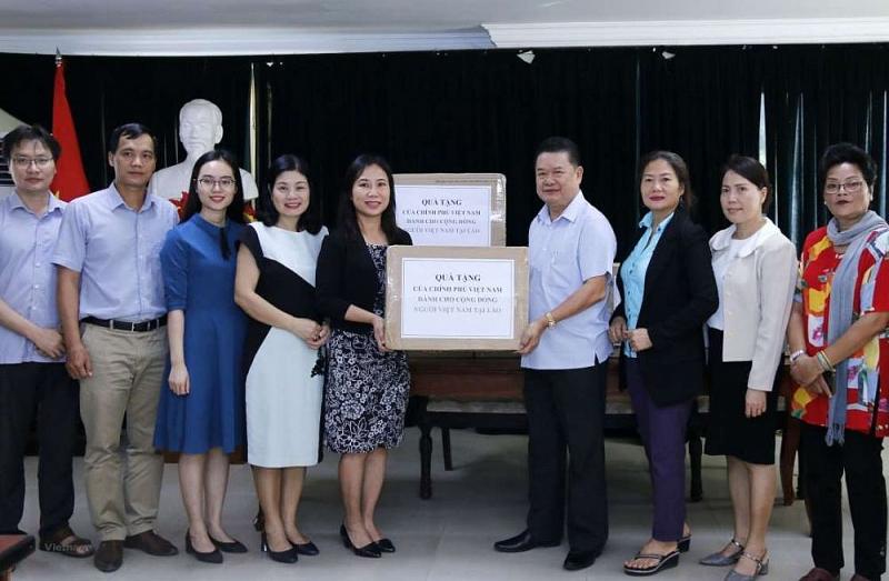 Chính phủ Việt Nam đã gửi tặng 75.000 khẩu trang y tế cho cộng đồng người Việt Nam tại Lào.(Nguồn: TTXVN)