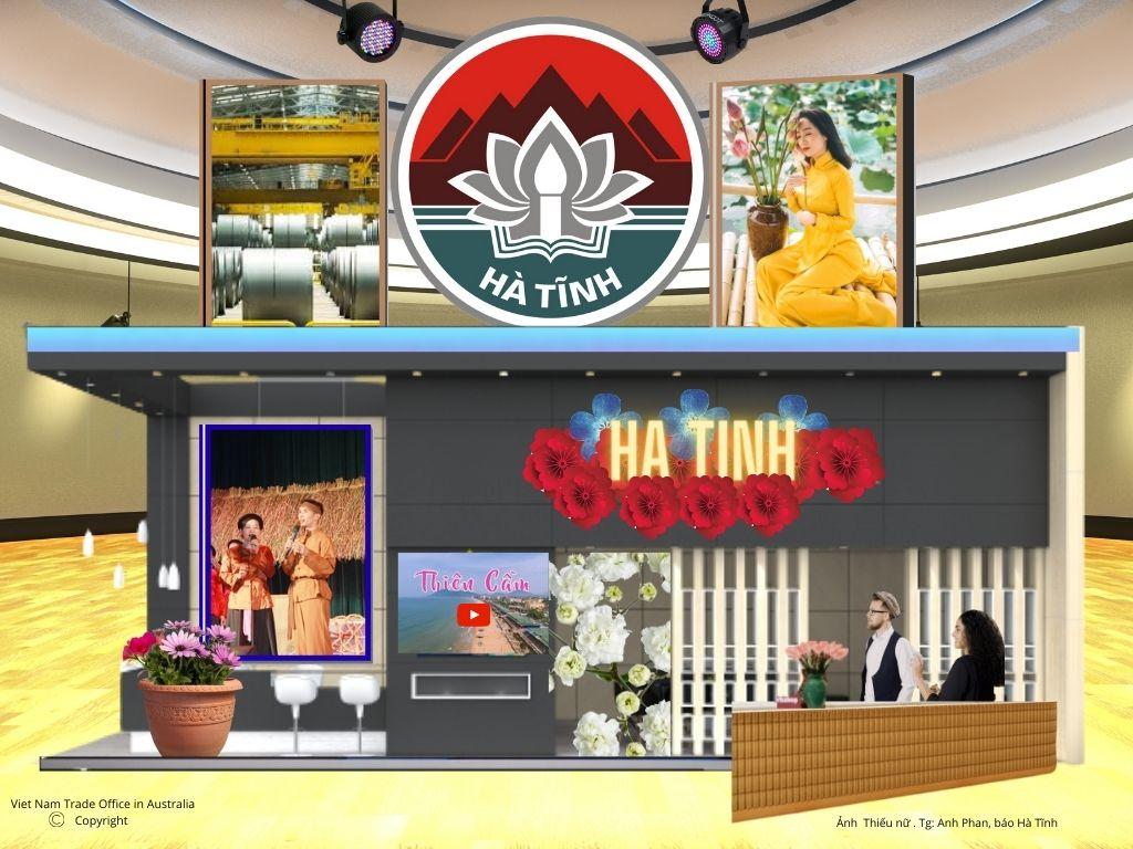 Mô hình gian hàng giới thiệu sản phẩm của các tỉnh miền Trung. Ảnh: Thương vụ Việt Nam tại Australia cung cấp