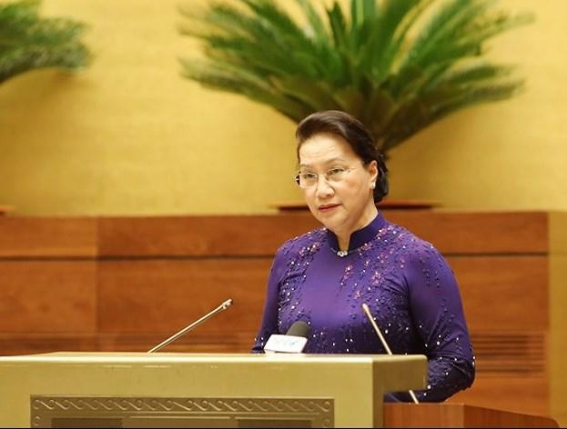 Chủ tịch Quốc hội Nguyễn Thị Kim Ngân phát biểu tại buổi gặp mặt