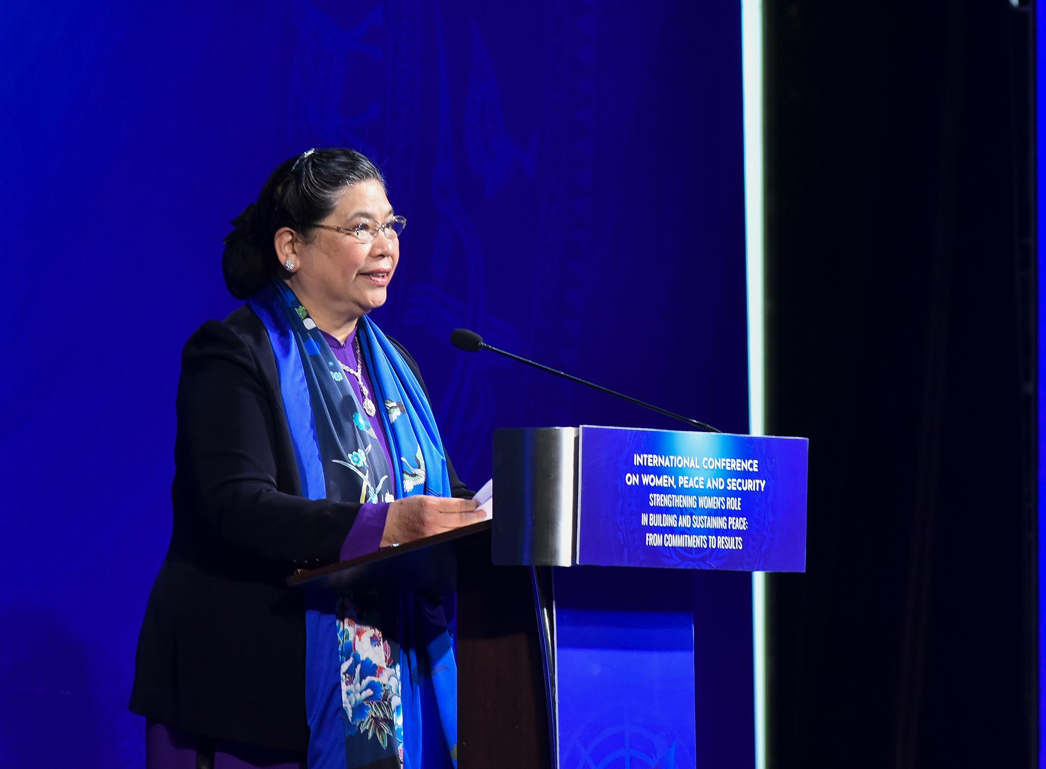 Phó Chủ tịch Quốc hội Tòng Thị Phóng phát biểu khai mạc Hội nghị. Ảnh: VGP/Hải Minh