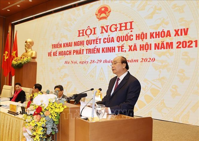 Thủ tướng Chính phủ Nguyễn Xuân Phúc phát biểu khai mạc Hội nghị. Ảnh: Trí Dũng/TTXVN