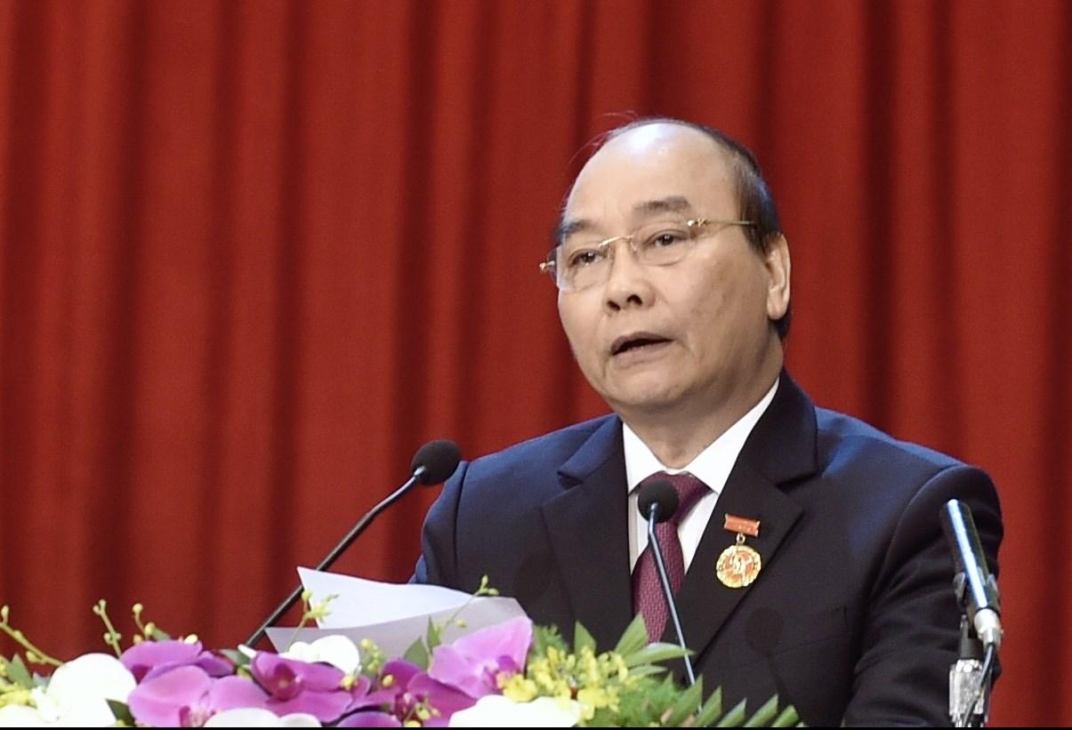 Thủ tướng Chính phủ Nguyễn Xuân Phúc, Chủ tịch Hội đồng Thi đua - khen thưởng Trung ương phát biểu khai mạc Đại hội