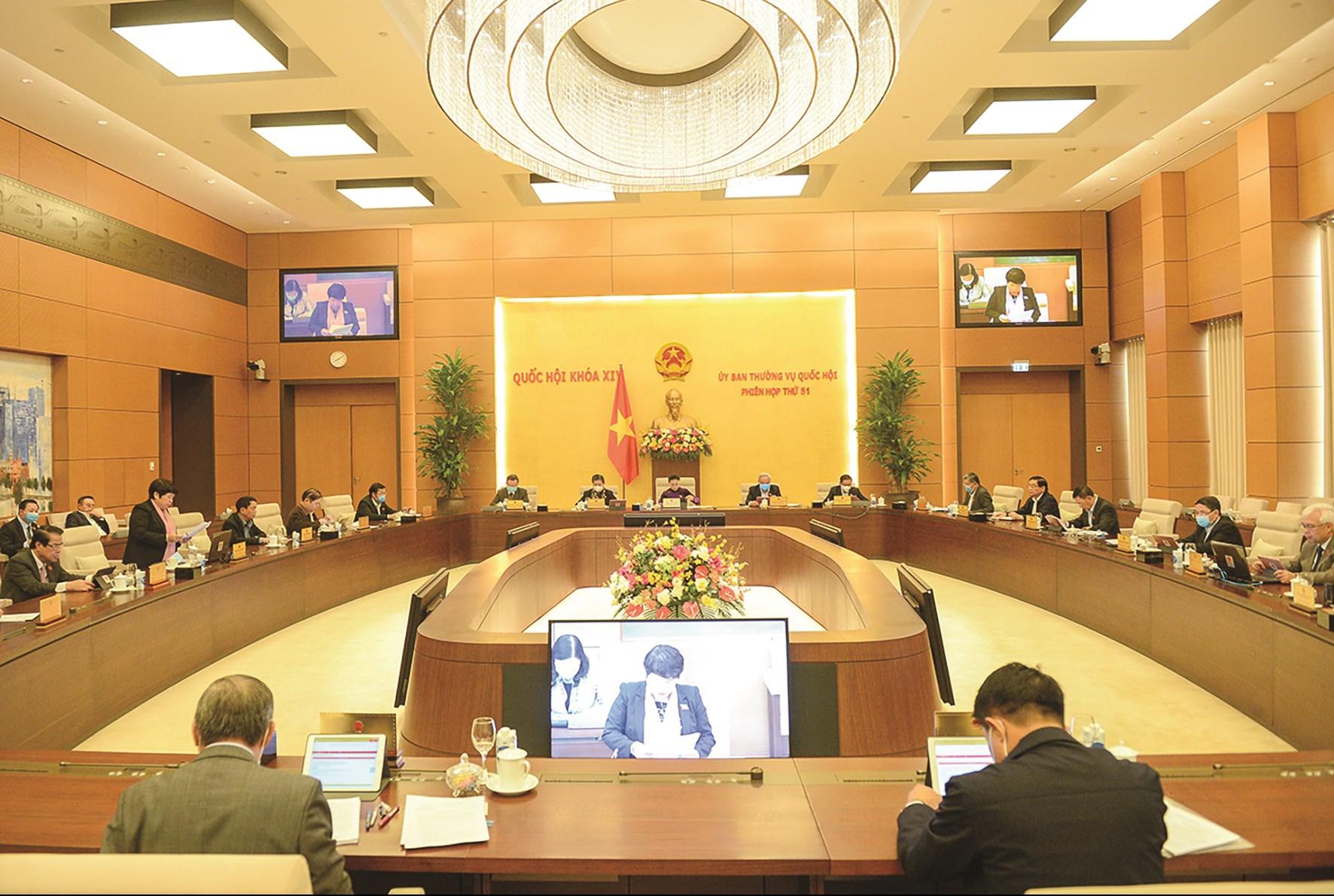 Toàn cảnh Phiên họp thứ 51 của Ủy ban Thường vụ Quốc hội sáng 9/12/2020 nghe báo cáo về việc tiếp thu, giải trình và chỉnh lý dự án Luật Phòng, chống ma túy (sửa đổi)