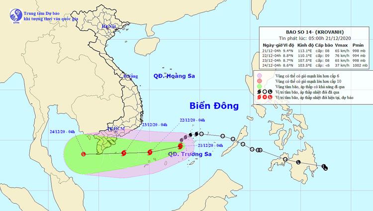 Vị trí và đường đi của áp thấp vào lúc 5 giờ ngày 21/12. Ảnh: NCHMF