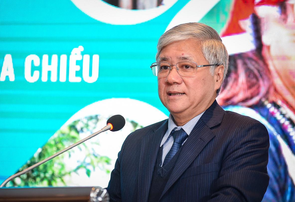 Bộ trưởng, Chủ nhiệm UBDT Đỗ Văn Chiến phát biểu tại buổi Lễ công bố Dự án