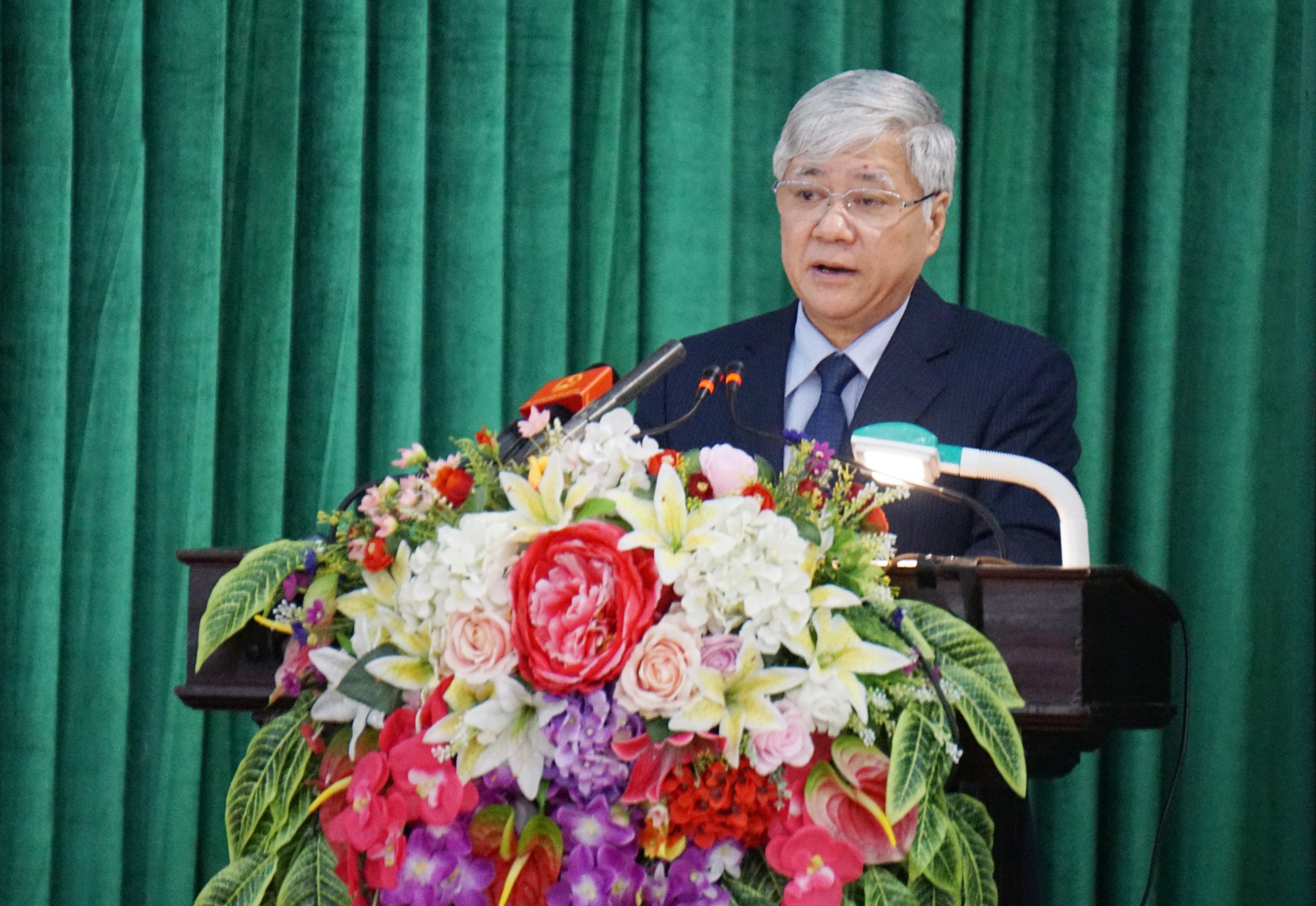 Đồng chí Đỗ Văn Chiến, Ủy viên Ban chấp hành TW Đảng, Bộ trưởng, Chủ nhiệm Ủy ban Dân tộc phát biểu tại hội nghị