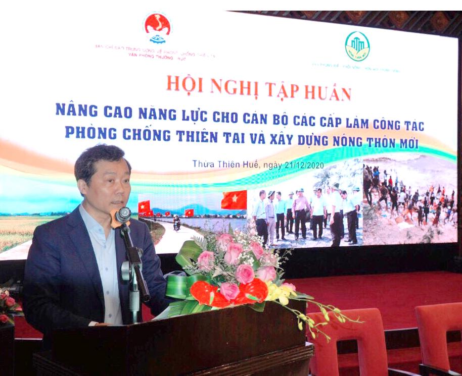 Phó Tổng cục trưởng Tổng cục PCTT, Phó Chánh Văn phòng Ban Chỉ đạo Trung ương về PCTT Nguyễn Văn Tiến phát biểu tại Hội nghị