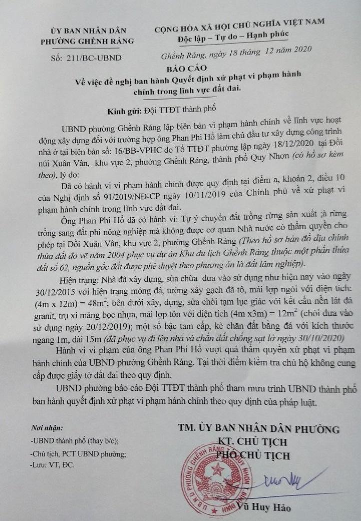 Biên bản dề nghị xử phạt công trình xây dựng trái phép của ông Phan Phi Hổ do UBND phường Ghềnh Ráng lập