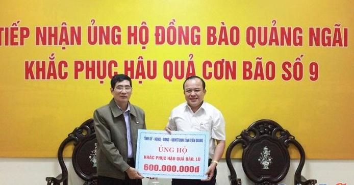 Ủy ban MTTQ Việt Nam tỉnh Quảng Ngãi tiếp nhận kinh phí hỗ trợ từ tỉnh Tiền Giang