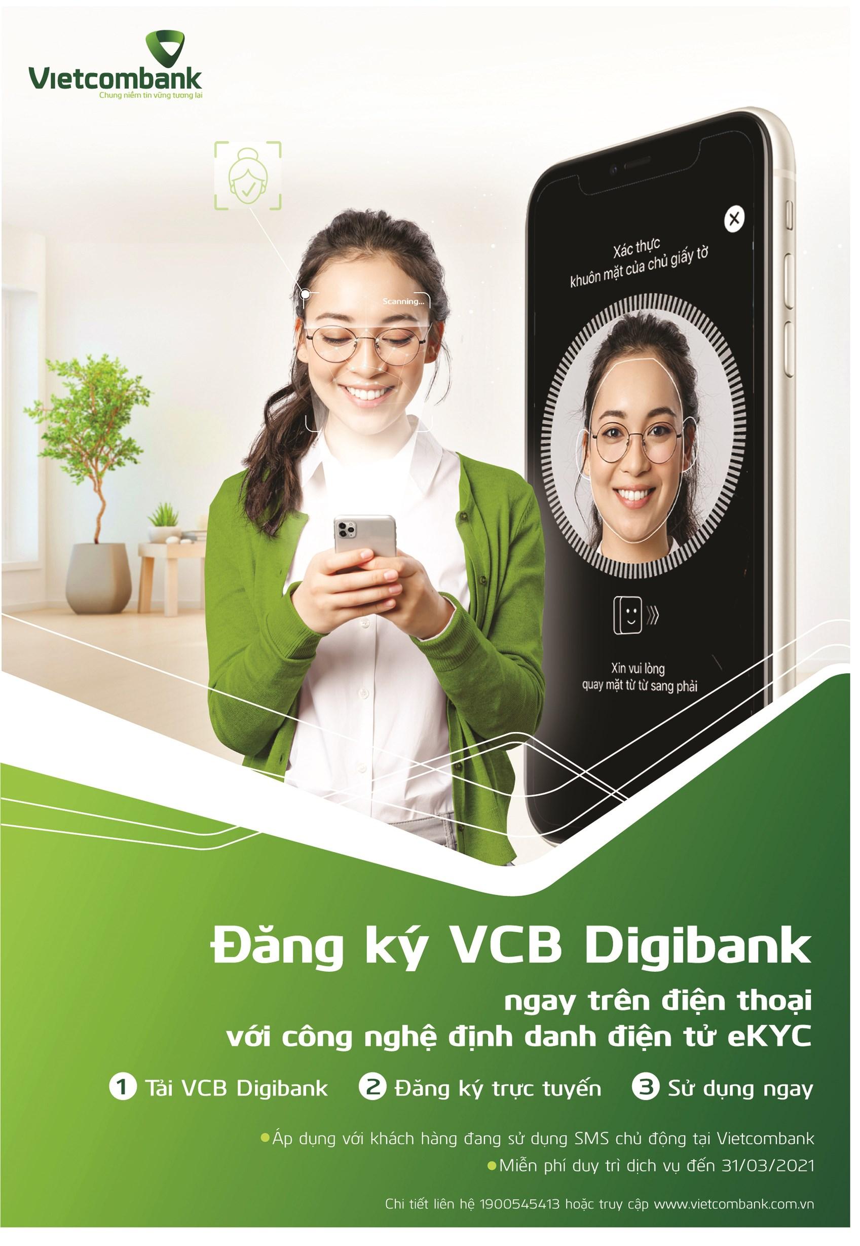 Công nghệ định danh điện tử eKYC - Đăng ký VCB Digibank ngay trên điện thoại.