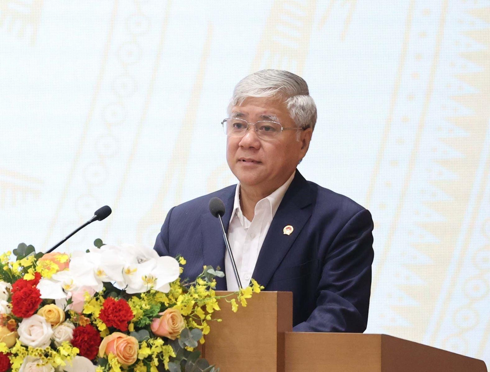 Bộ trưởng, Chủ nhiệm Uỷ ban Dân tộc Đỗ Văn Chiến phát biểu tại Hội nghị. Ảnh: Thống Nhất/TTXVN.