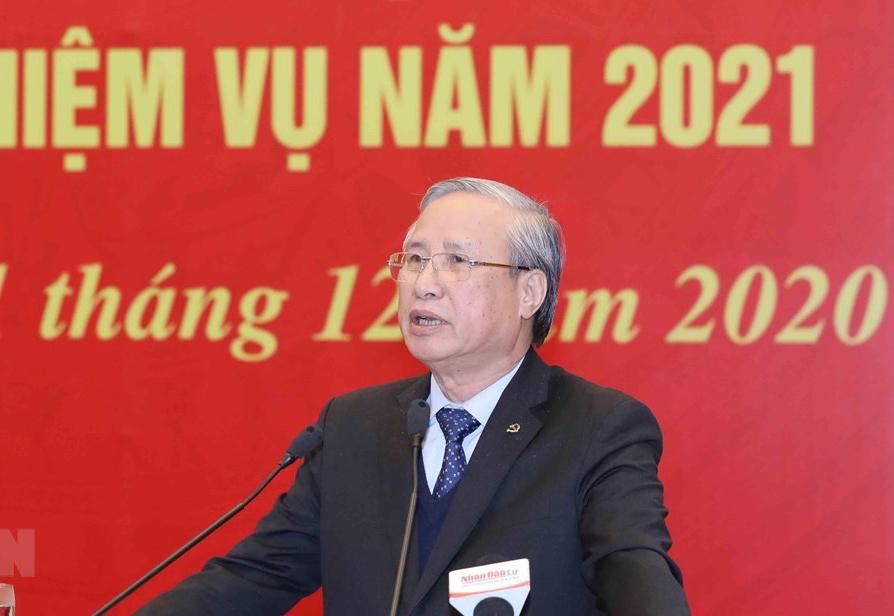 Ủy viên Bộ Chính trị, Thường trực Ban Bí thư Trần Quốc Vượng phát biểu chỉ đạo Hội nghị. (Ảnh: Phương Hoa/TTXVN)