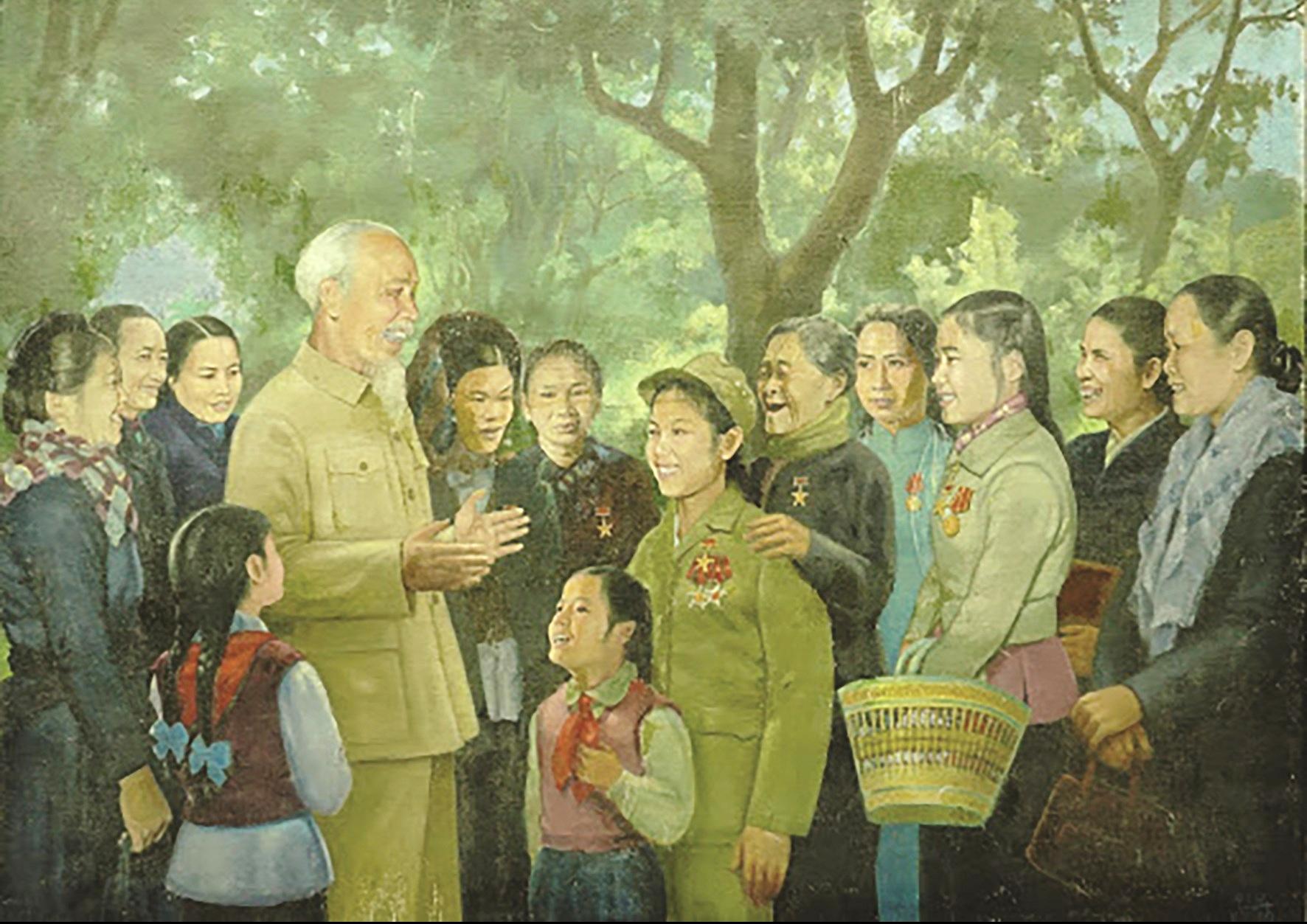 """Hình tượng Bác Hồ trong tác phẩm hội họa """"Nghe lời Bác dạy"""" của họa sĩ Vương Trình."""