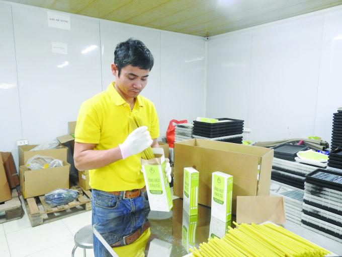 Anh Lê Văn Tám kiểm tra đóng gói sản phẩm ống hút