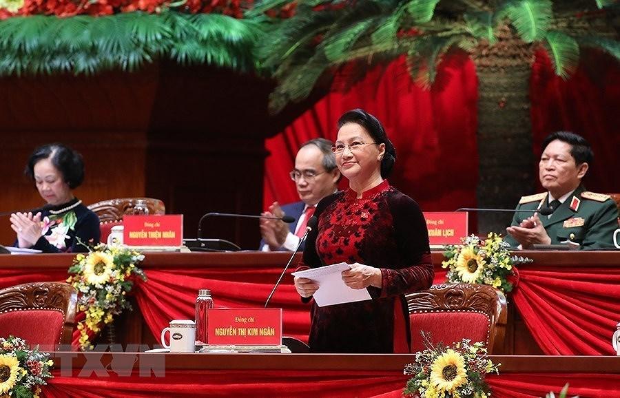 Đồng chí Nguyễn Thị Kim Ngân, Ủy viên Bộ Chính trị, Chủ tịch Quốc hội thay mặt Đoàn Chủ tịch điều hành Đại hội. (Ảnh: TTXVN)