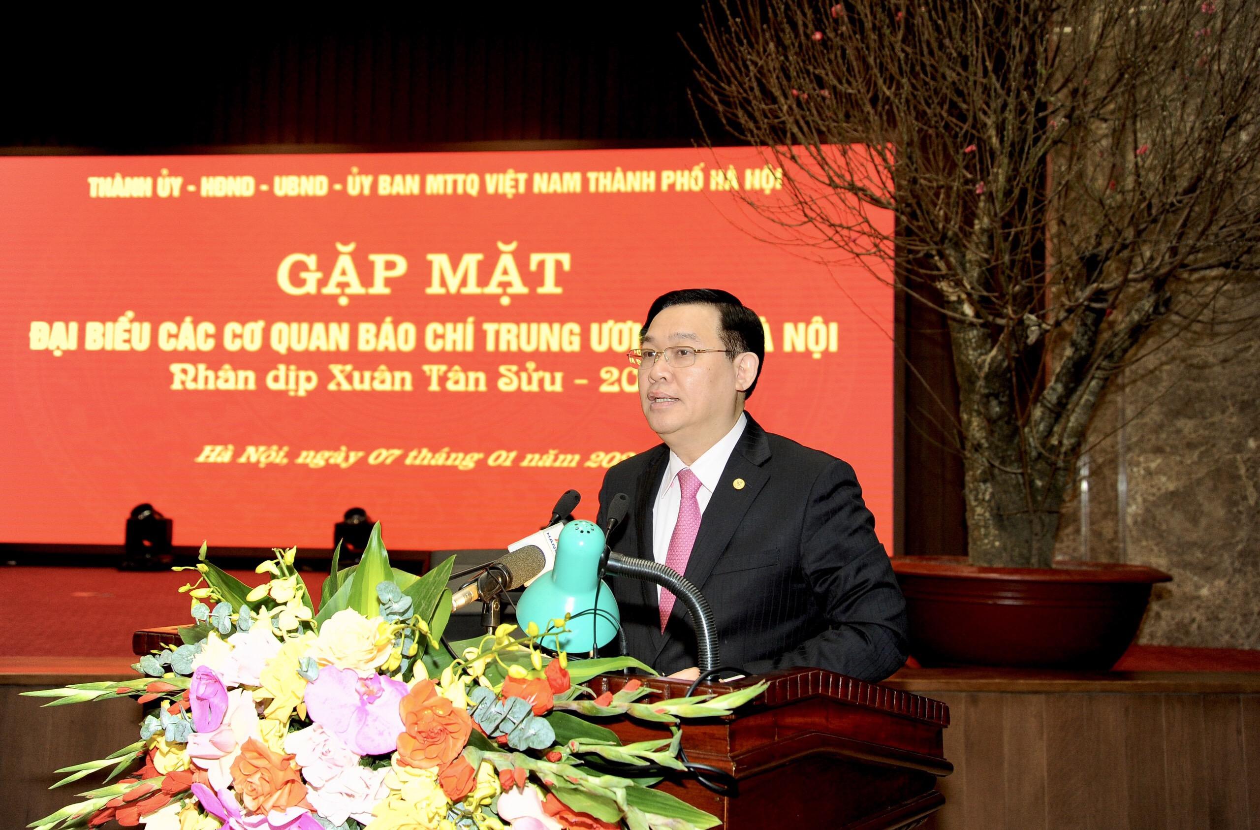 Bí Thư Thành Ủy Hà Nội, Vương Đình Huệ phát biểu tại buổi gặp mặt đại biểu các Cơ quan báo chí
