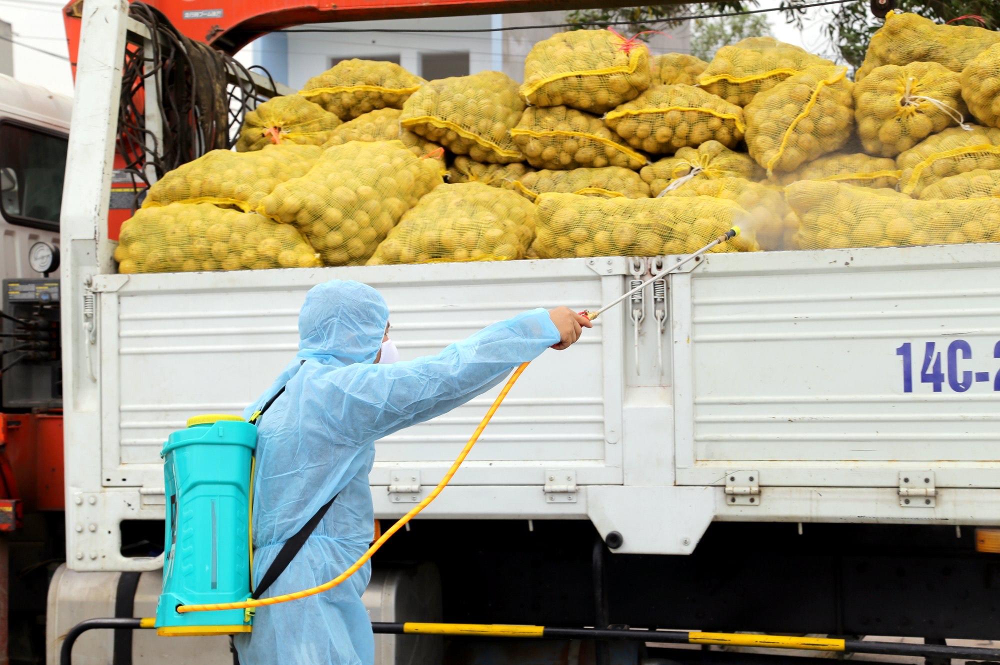 Nhân viên kiểm dịch khử khuẩn các chuyến hàng