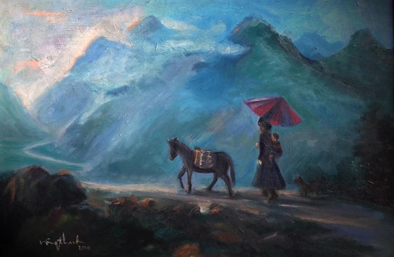 Một tác phẩm nghệ thuật của họa sĩ Nông Cao Thanh