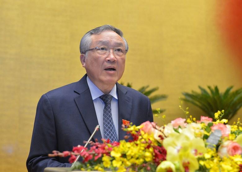 Chánh án Tòa án nhân dân Tối cáo Nguyễn Hòa Bình trình bày Báo cáo công tác nhiệm kỳ 2016-2021 của Tòa án nhân dân Tối cao