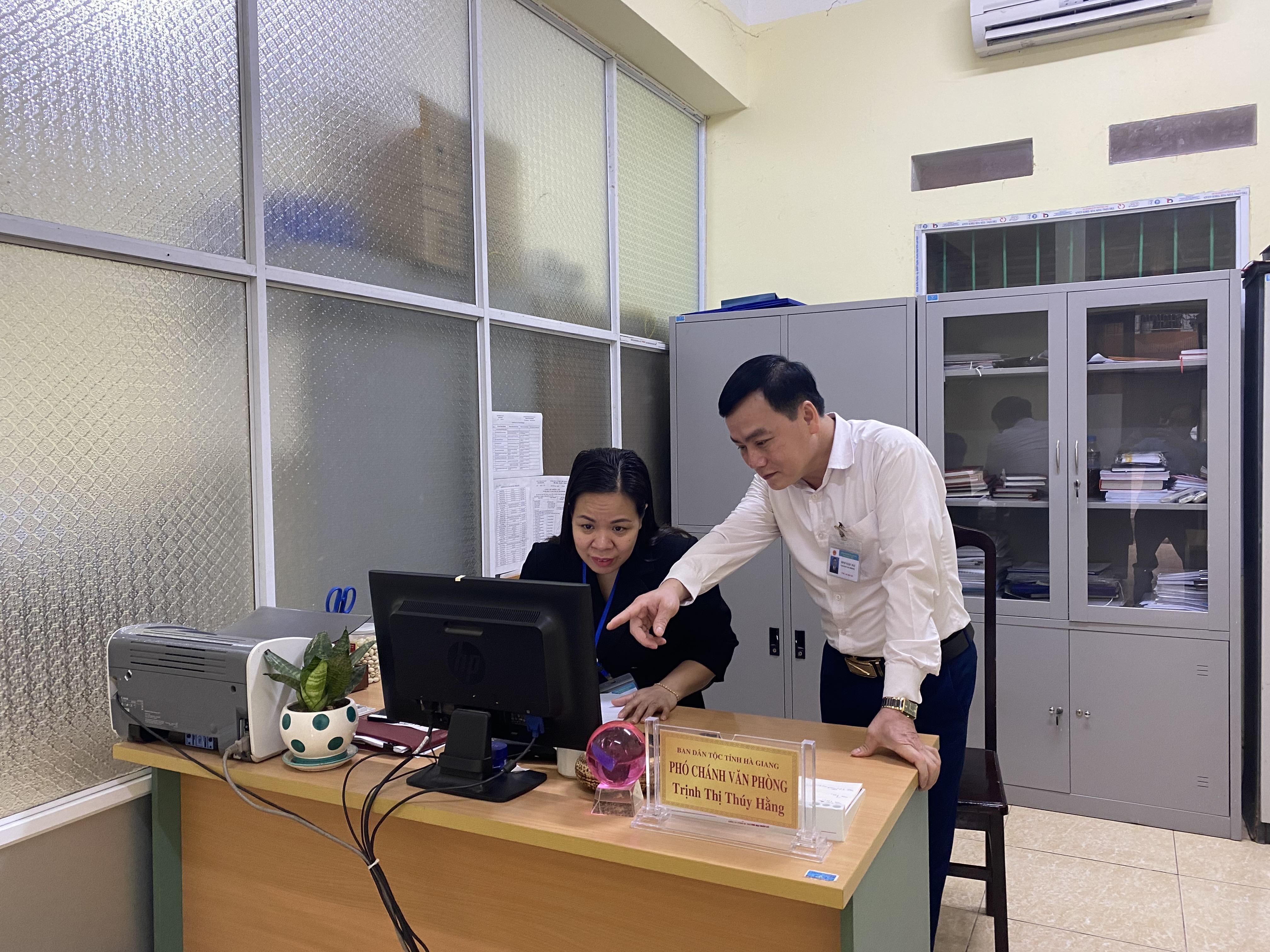 Đẩy mạnh ứng dụng CNTT ở Ban Dân tộc tỉnh Hà Giang từng bước nâng cao chất lượng tham mưu, thực hiện chính sách dân tộc.