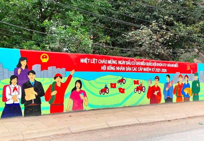 Thanh Oai thực hiện tốt công tác tuyên truyền trực quan về bầu cử trên địa bàn xã Thanh Thùy, huyện Thanh Oai.
